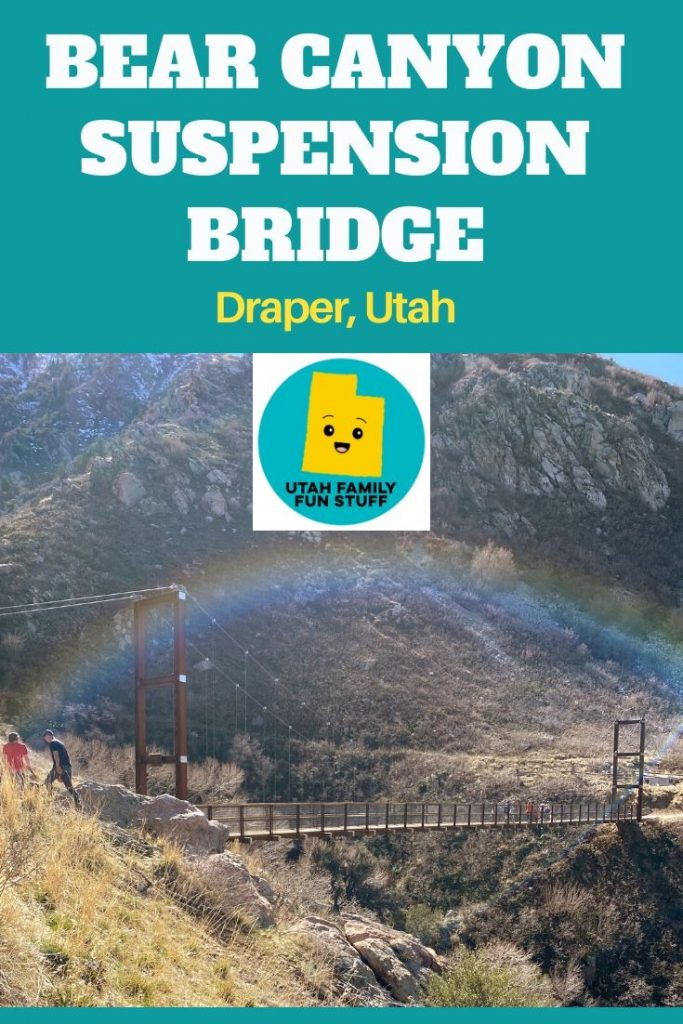 Enjoy the scenic hike to Bear Canyon Suspension Bridge in Draper, Utah. Perfect for families and young children.